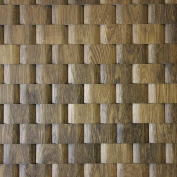 Стеновые 3D панели из дерева Esse 1001 Плетенка Табачная