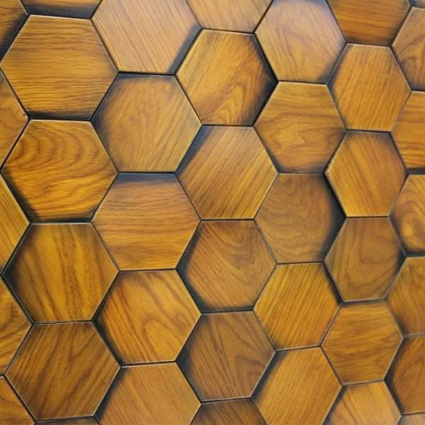 Стеновые 3D панели из дерева Esse 1030 П Состаренные медовые соты Дуб
