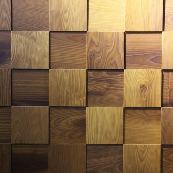 Стеновые 3D панели из дерева Esse 1003 Термоясень Рыжий