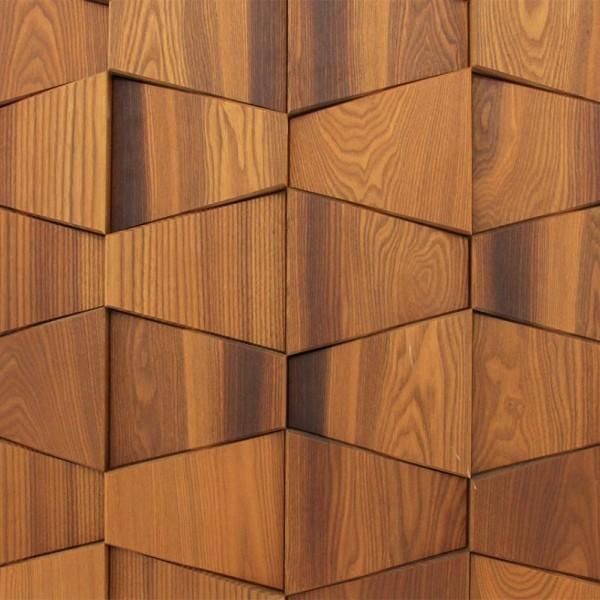 Стеновые 3D панели из дерева Esse 102 Термо ясень бабочка