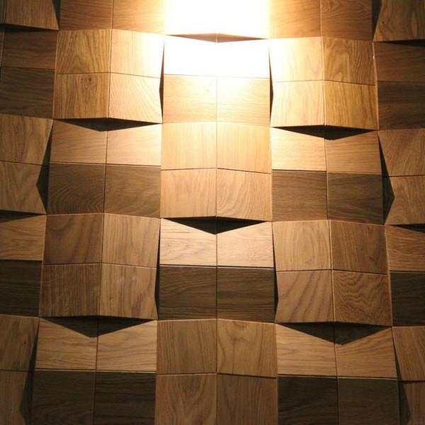 Стеновые 3D панели из дерева Esse 1005 Квадраты сборные