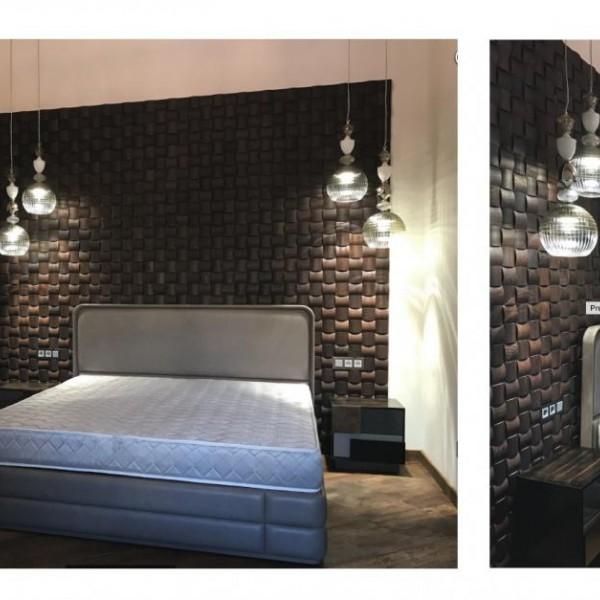 Стеновые 3D панели из дерева Esse 1009 Термоясень темный