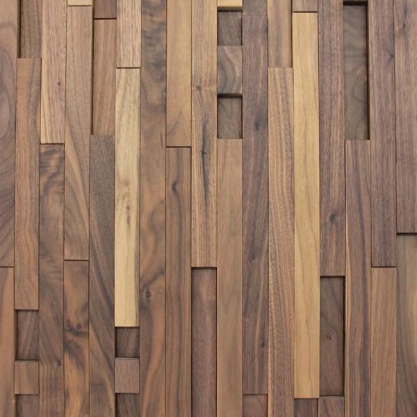 Стеновые 3D панели из дерева Esse 1023 ST Американский Орех вертикальная разнолика