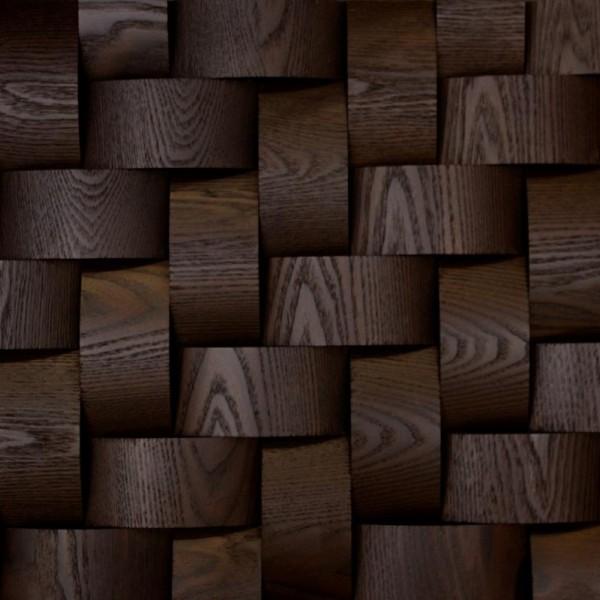 Стеновые 3D панели из дерева Esse 1021-ST Термо ясень плетёнка скруглёная