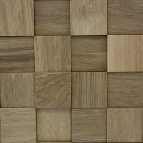 Стеновые 3D панели из дерева Esse 1014 Квадраты шахматные Дуб спокойный