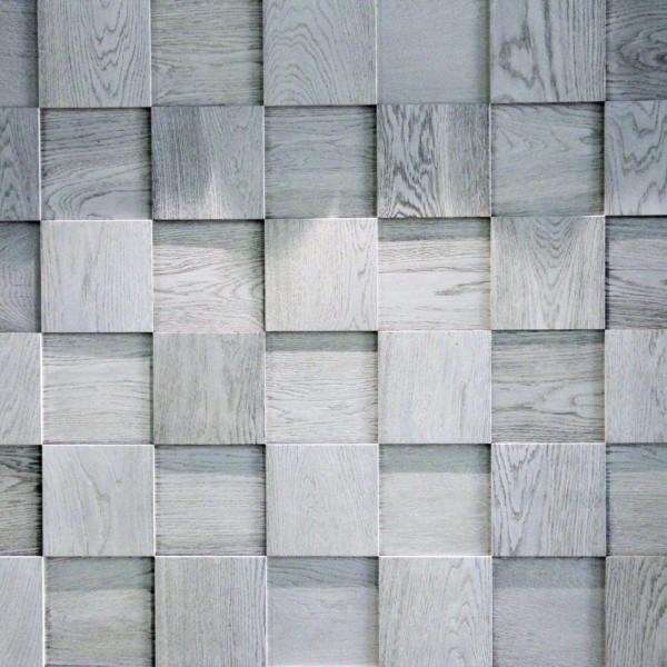Стеновые 3D панели из дерева Esse 1014 Квадраты шахматные светло-серые