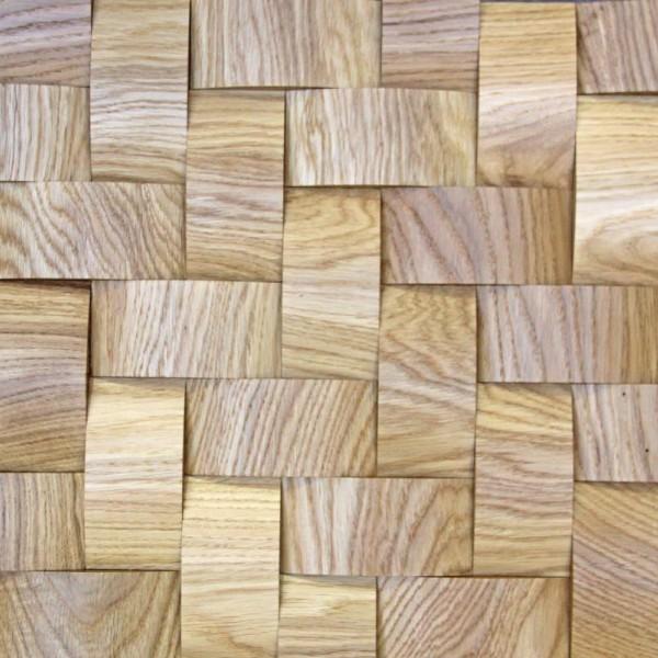 Стеновые 3D панели из дерева Esse 1022-ST Дуб натуральный плетёнка скруглёная