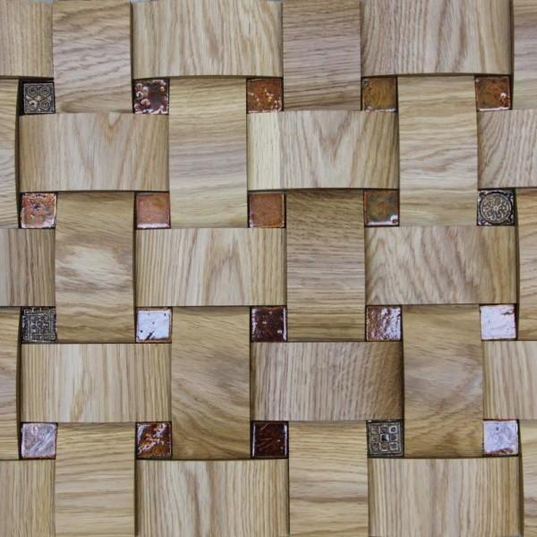 Стеновые 3D панели из дерева Esse 1024-ST Дуб натуральный плетёнка скруглёная с мозаикой