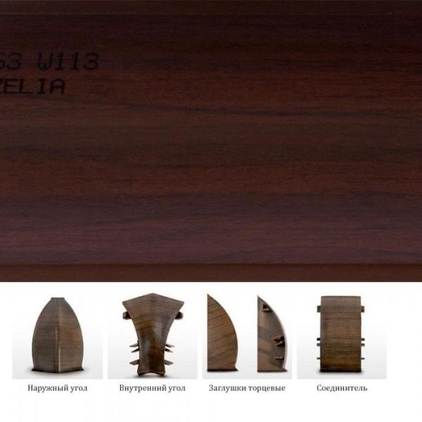 Пластиковый плинтус (ПВХ) Dollken MD63 2113 (W113) Авзелия (Afzelia) +монтажная планка